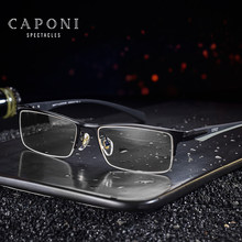 CAPONI Men Business Eyewear Metal Glasses Frame Flexible TR Legs Square Leisure Super Light Computer Eyeglasses For Male J6103