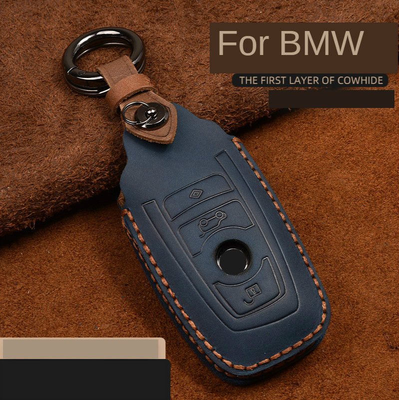 Crazy Horse Leather Car Key Case For BMW F20 F30 F10 F18 F22 F01 X3 X4 F06 F02 M3 M5 Smart Keychain Remote Control Shell Cover