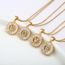 Hot Cubic Zirconia 26 Alphabet Letter Pendant Necklaces A-Z Initial Charm Women Chain Necklace Jewelry Bijoux Gift