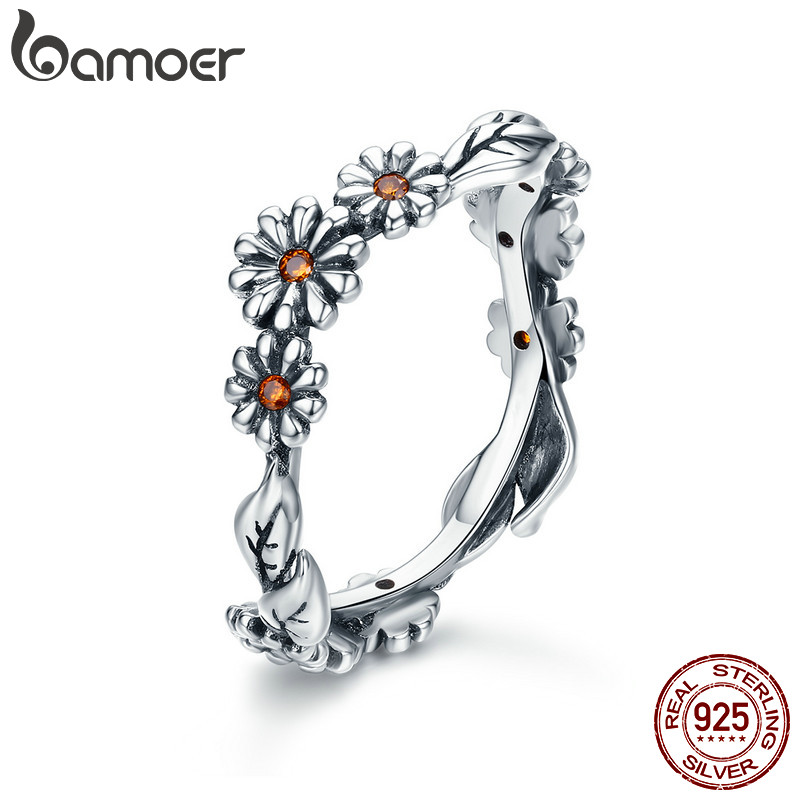 BAMOER Hot Sale 100% 925 Sterling Silver Twisted Daisy Flower Female Finger Rings For Women Wedding Silver Jewelry Anel SCR298