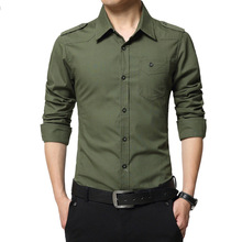 Shirt Military-Style Full-Sleeve Fashion 100%Cotton with Epaulets Army Men's