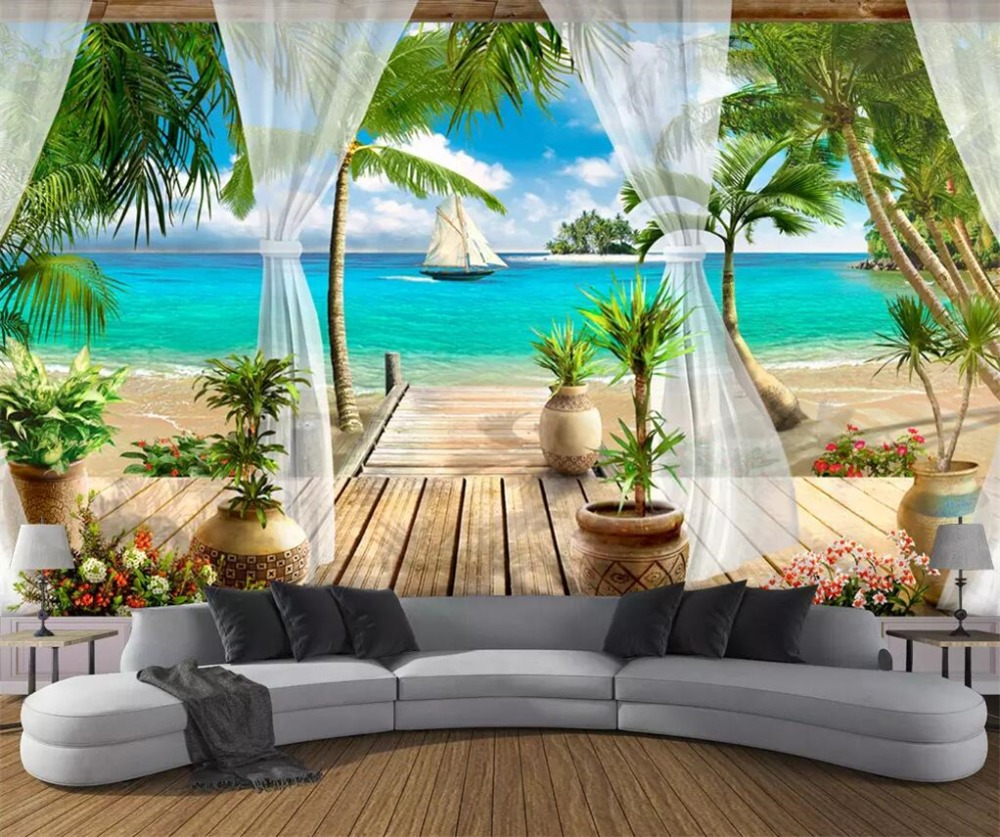 Drop Shipping Custom Wallpaper 3D Portrait Mural Balcony Sea View Wallpaper Living Room Bedroom Wallpaper Papel De Parede