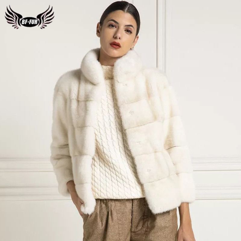 Women Winter Fashion Mink Fur Coats Outwear Luxury Genuine Mink Fur Jacket Short Whole Skin Natural Fur Coat Plus Size Woman
