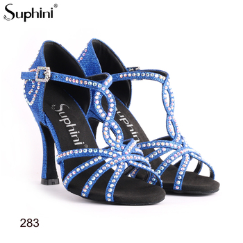 Latin Salsa Dance Shoes Blue Glitter Latin Salsa Shoes latin women dance shoes zapatos de baile latino mujer Free Shipping