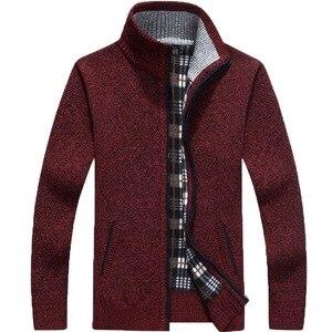 Image 3 - 2020 Autumn Winter Mens Sweater Coat Faux Fur Wool Sweater Jackets Men Zipper Knitted Thick Coat Warm Casual Knitwear Cardigan