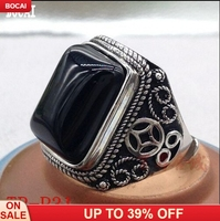 100% Real S925 sterling silver inlaid with natural green semi precious stone open ring square mighty men's coin ring