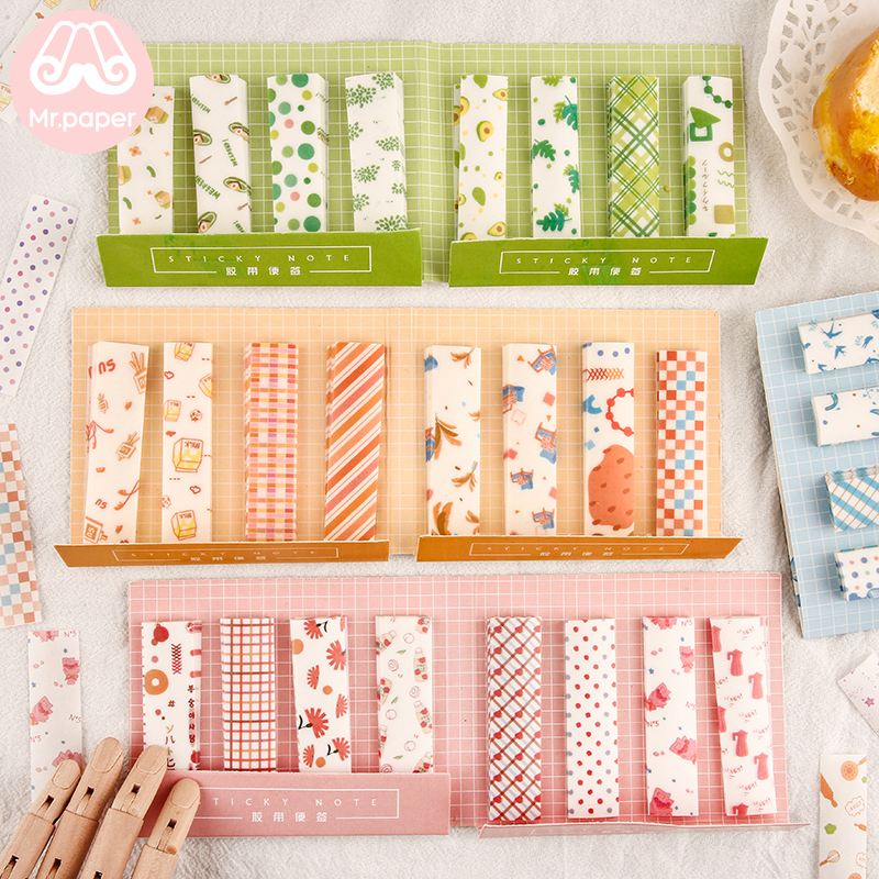 Mr Paper 240pcs/lot 6 Designs Ins Style Fresh Memo Pad Sticky Note Take-away Tape With Release Paper Self-Stick Note Memo Pads