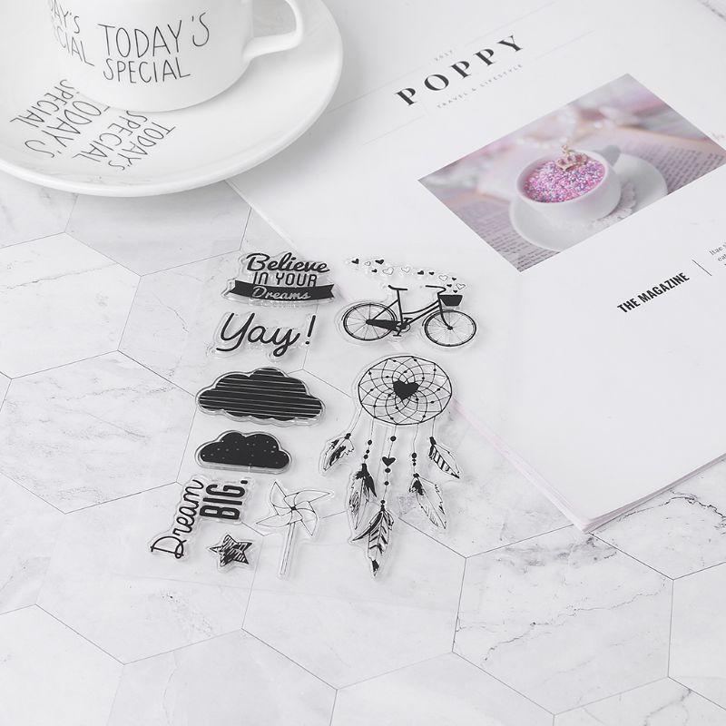 PVC Stamp Seal Bike Dreamcatcher Windmill Cloud Fancy Font Patterns DIY Scrapbook Photo Album Card Diary Decor D2TD