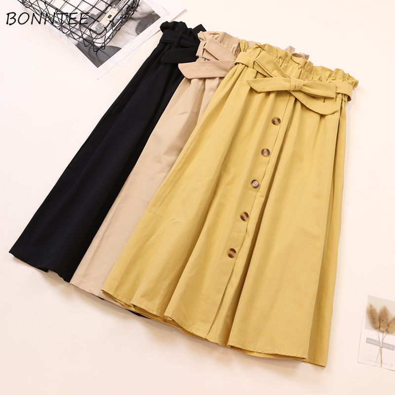 Skirts Womens Bow Buttons Various Colors Loose Bud Skirt Women Vintage Elastic Waist Elegant Simple Basic Females Retro Chic New