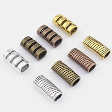 5pcs Antique Silver/Bronze/Gold/Copper Licorice Tube Stripe Slider Spacers For 10X6mm Leather Cord Bracelet Accessories