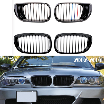 Front Bumper Racing Grills Kidney Grilles For BMW E46 3 Series Coupe M3 2002 2003 2004 2 doors M Power Performance Accessories