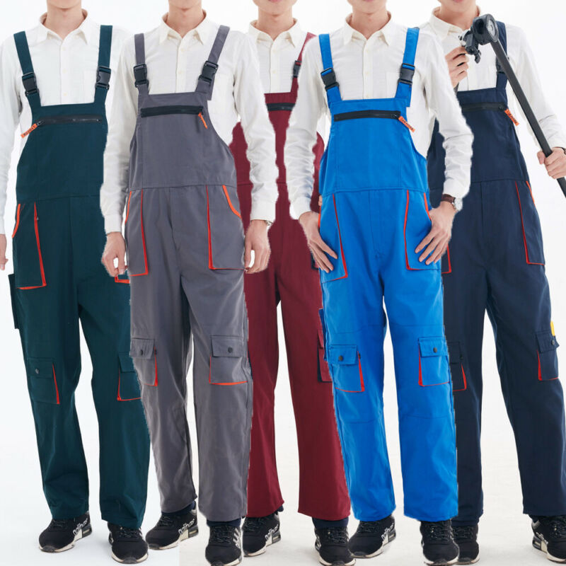 Large Size 4XL Men's Bib Pants Fashion Functional Clothing Men Heavy Duty Work Jumpsuit Coveralls Overalls Mechanic Indoor Pants