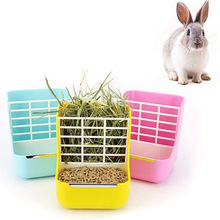 Grass Stand Plastic Small Animals Feeder Removable 2-in-1 Pet Food Feeder Grass Rack Fixed Feeder