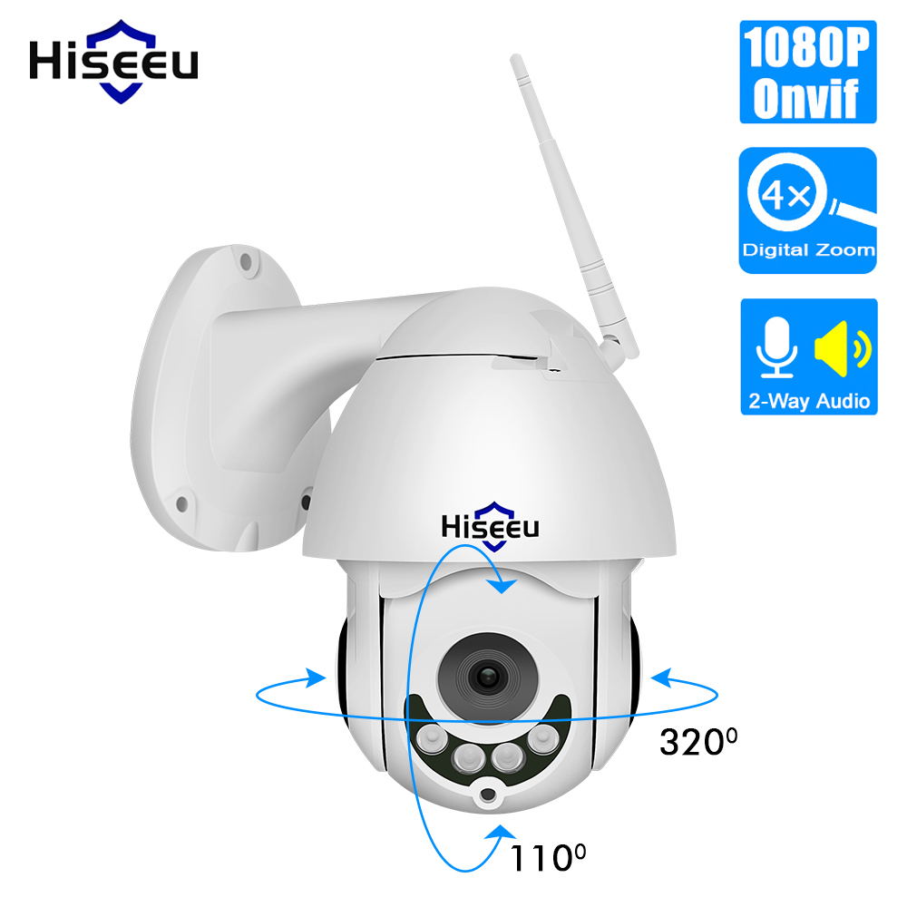 Hiseeu 1080P Wireless PTZ Speed Dome IP Camera WiFi Outdoor Two Way Audio CCTV Security Video Network Surveillance Camera P2P