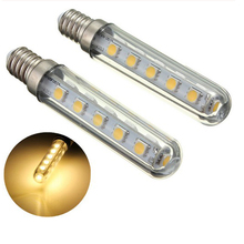 2PCS E14 Small Screw Mouth LED Lamp 2.5W Pen Bulb 16lLED 5050 220V Refrigerator Bulb Gallery Lamp Warm White Positive White  T18