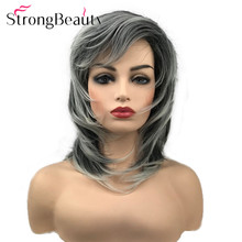 StrongBeauty Soft Fluffy Layered Shag Wig Medium Length Hair Natural Straight Black Silver White Synthetic Wigs