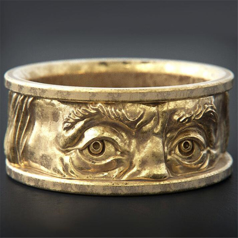 Кольцо на указательный палец мужское, креативное металлическое кольцо с резьбой и глазами, аксессуар в ретро стиле, Подарочная бижутерия|Кольца| | АлиЭкспресс
