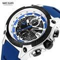 MEGIR мужские синие часы лучший бренд класса люкс кварцевые часы мужские Relogios Masculino военные спортивные водонепроницаемые наручные часы Мужск...