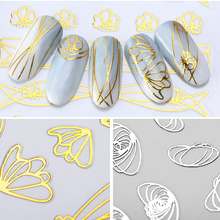 9 Pcs/Set 3D Nail Stickers Gold Silver Mixed Patterns Adhesive Transfer Decals Art Decorations