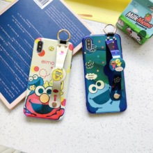 Cartoon Sesame Street Phone Case Luxury Wrist Strap Holder blue ray Soft Cover for iPhone 6 6s 7 8 Plus X XS XR XSMax