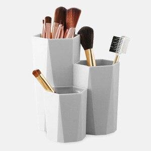 Box3 Lattices Cosmetic Make-up Brush Storage Box Table Organizer Makeup Nail Polish Cosmetic Holder Make Up Tools Pen Storage(China)