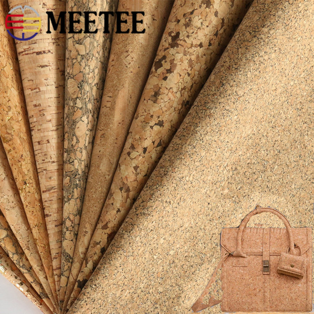 Meetee 200X137cm 0.5mm Thick Natural Cork Leather Fabric DIY Bags Shoes Luggage Handmade Craft Wood Grain Decor Material Supply