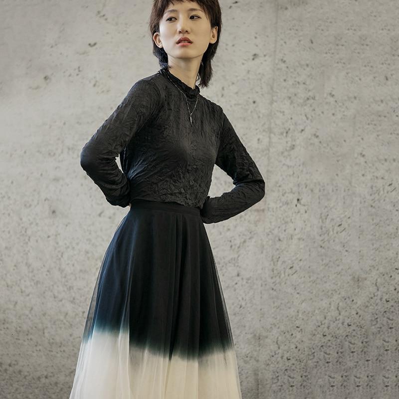 [EAM] Women Fold Split Joint Brief Temperament T-shirt New Stand Collar Long Sleeve  Fashion Tide  Spring Autumn 2020 1H720 6