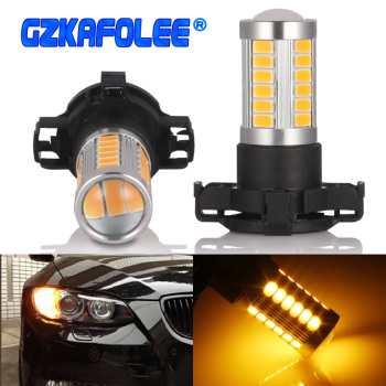 GZKAFOLEE Xenon White Amber Gold Error Free PY24W 5200s 33SMD LED for Audi BMW Land Rover Mercedes-Benz Front Turn Single Light image