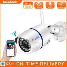 Besder icsee onvif p2p wifi câmera ip de áudio câmera 1080p 720p sem fio com fio alarme cctv bala ao ar livre com slot para cartão sd max 64g
