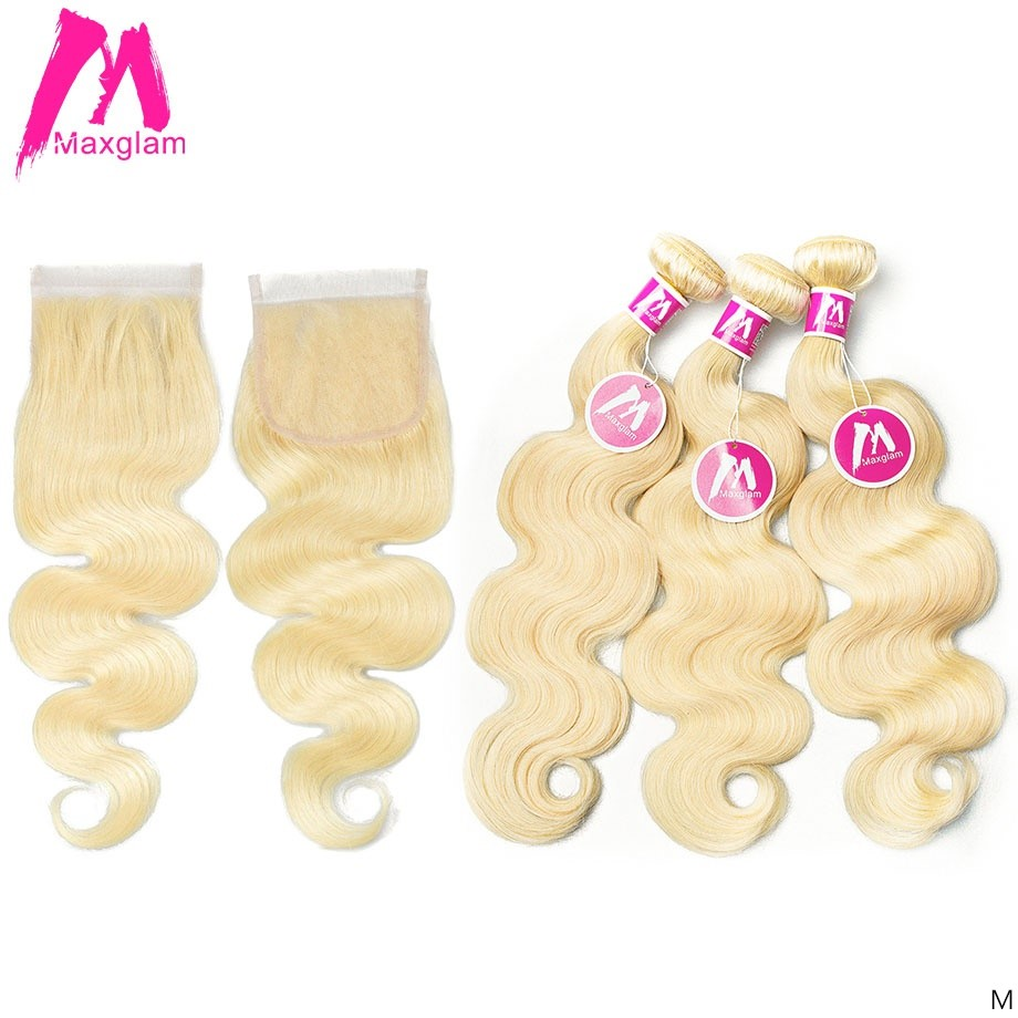 Blonde 613 Human Hair Bundles With Closure Frontal Brazilian Body Wave Short Long Hair Weave Extension For Black Women 3 Bundles