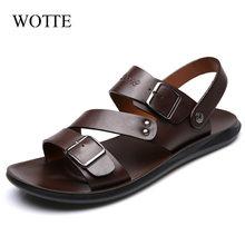 Мужские летние кожаные сандалии в повседневном стиле