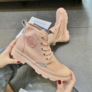 Image 5 - Zapatos planos SWYIVY con botas Martin, zapatos de plataforma para mujer, nuevos botines de mujer de lona de otoño 2019, zapatos femeninos transpirables sólidos