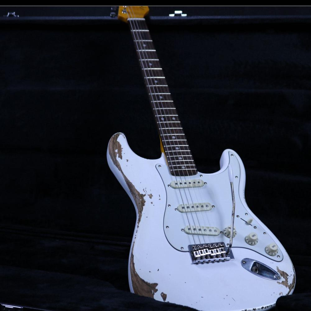 New Product White Heavy Relic Electric Guitar Z-ZV6 Promotional Activities Can Custom Hot Sale Real Photos  Tremol Bridge