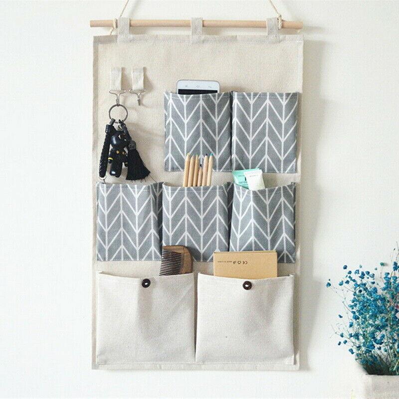 7 / 3 Pockets Wall Hanging Storage Bags Cotton Linen Door Organizer Waterproof  Bedroom Closet Toy Key Home Office Container