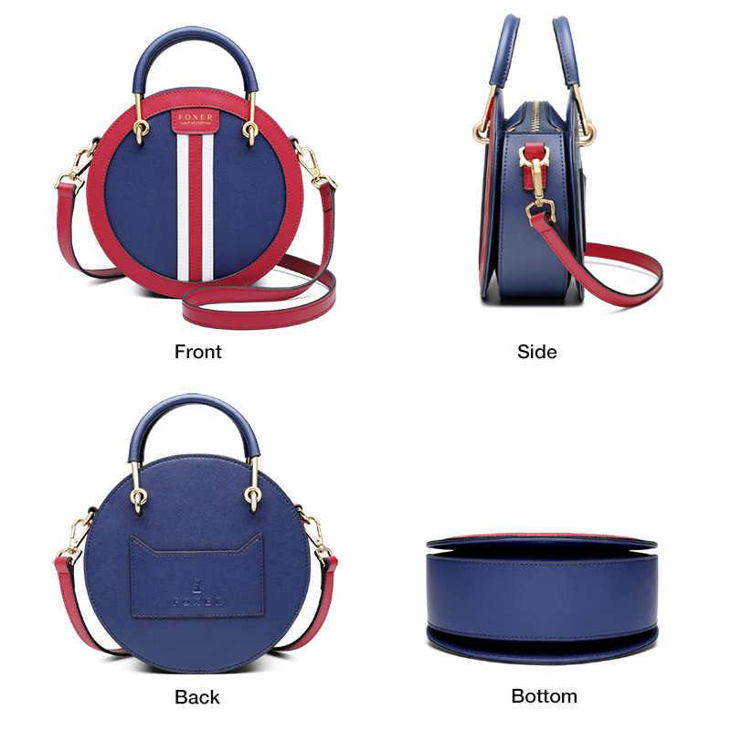 FOXER Мини Круглая сумка в английском стиле, Женская мини-сумка, Элегантная Маленькая женская кожаная сумка через плечо, женские сумки-мессенджеры для отдыха