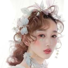 Vintage azul claro púrpura lavanda mariposa corona boda tiara para graduación diadema perla novia accesorios para el cabello novia