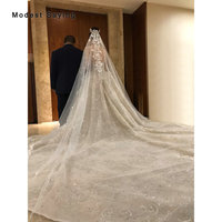 Bling Beaded Ivory 5 Meters Cathedral Lace Wedding Veils 2019 Church Royal Bridal Veils Wedding Accessories Monarch veu de noiva