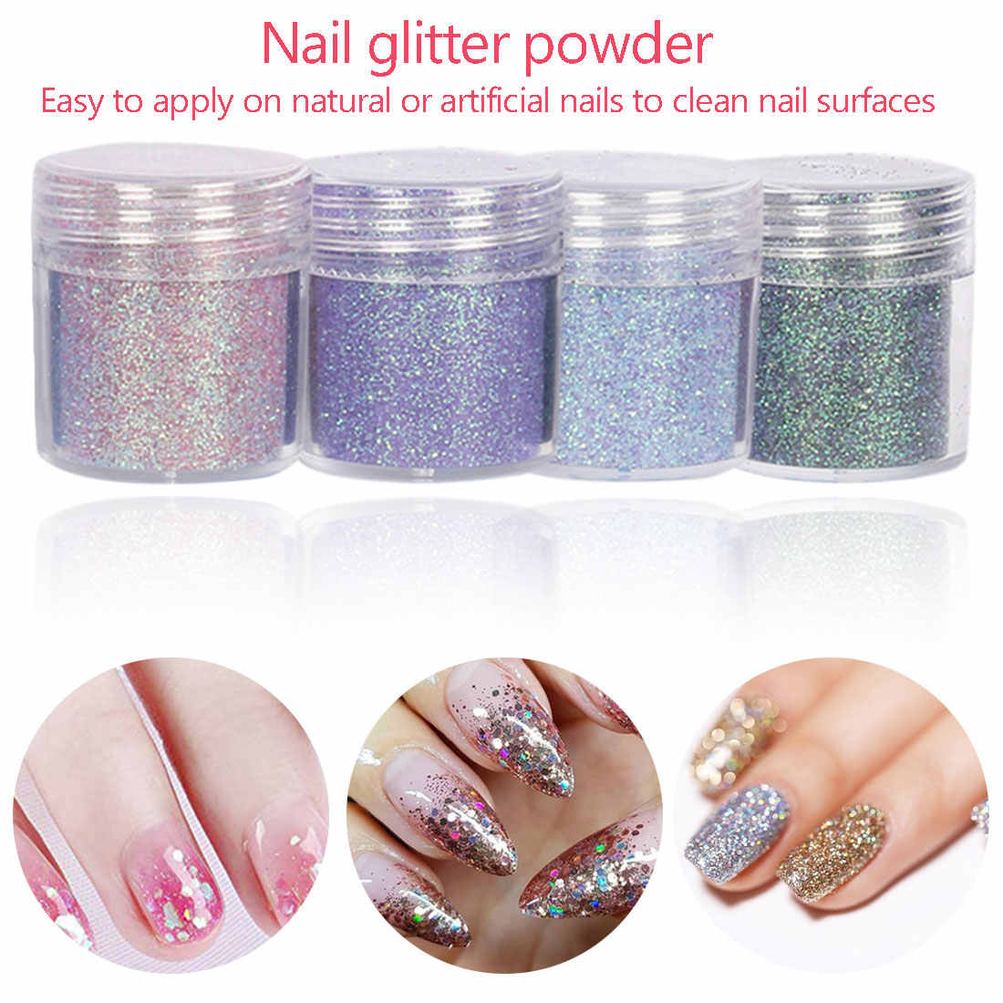 10g/Box Dipping Nail Powder Glitter Gradient French Nail Holographic Dipping Nail Art Natural Dry Without Lamp Cure