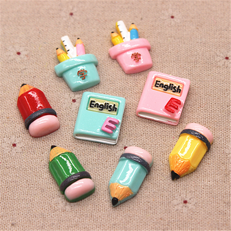 10pcs New Cute Student Back-to-School Season Resin Book/Pencil/Pen Holder Miniature Art Supply Decoration Charm Craft DIY