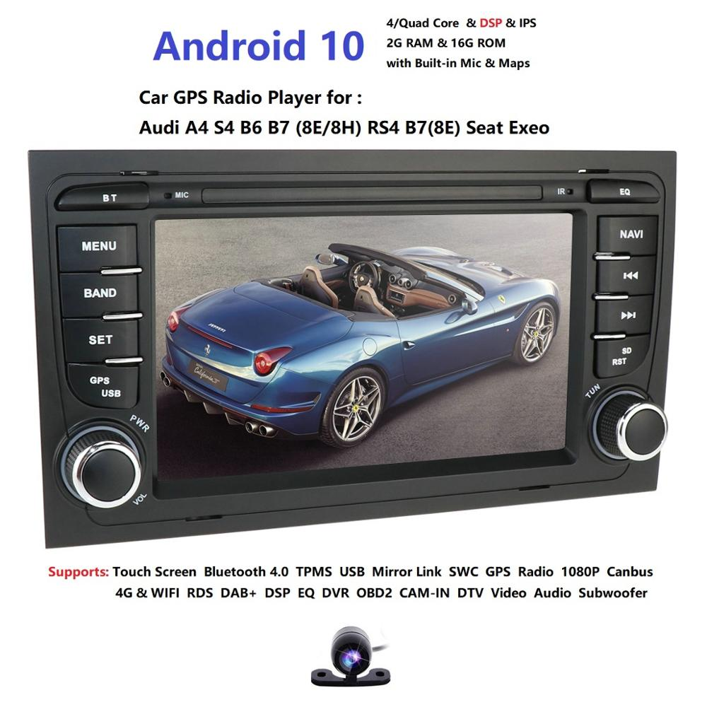 Free shipping! 4G WIFI Android 10.0 CAR GPS Navi for <font><b>audi</b></font> <font><b>A4</b></font> 2002-2008 S4 RS4 8E 8H <font><b>B6</b></font> B7 With BT RDS <font><b>multimedia</b></font> player radio image