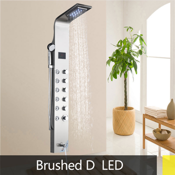 Black/Brushed Stainless Steel 6-function Waterfall LED Rain Shower Panel W/Massage System Tub Spout W/ Handshower Shower Column 9