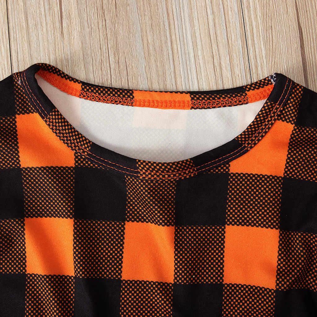 Calabaza Plaid niños ropa de manga larga bebé niños niñas Halloween Tops conjunto vestido general hiver enfant