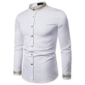 Image 3 - זהב רקמת חולצה גברים 2019 סתיו צווארון עומד חולצות גברים מקרית Slim Fit ארוך שרוול תחתונית Homme Camisa Masculina