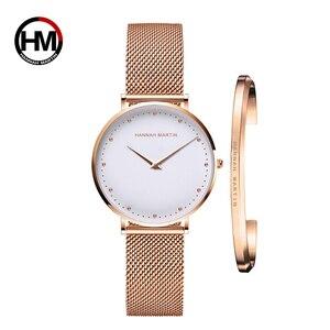 Image 1 - 1 세트 시계 & 팔찌 일본 쿼츠 무브먼트 심플 여성 방수 탑 럭셔리 브랜드 패션 스테인레스 스틸 여성 시계