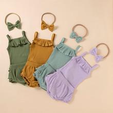 Noworodka zestaw ubrań dla dzieci lato noworodka dziewczynka słodkie ubrania stałe Romper szorty w jednolitym kolorze zestawy ubrań dla niemowląt tanie tanio COTTON CN (pochodzenie) dla dziewczynek W wieku 0-6m Z okrągłym kołnierzykiem Pulower bez rękawów Dobrze pasuje do rozmiaru wybierz swój normalny rozmiar