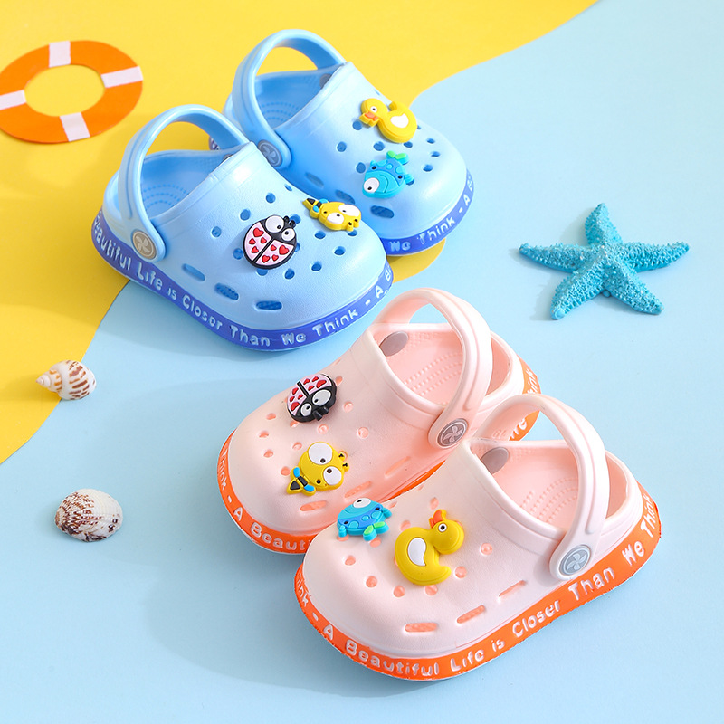 Kids Sandals Baby Girls Boys Crocs Shoes Kids Garden Shoes Animal Charm Summer Beach Slippers Soft Toddler Prewalker Non-Slip
