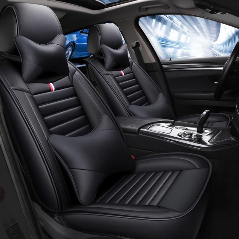Leather Car Seat Cover For Hyundai Creta Getz Santa Fe Solaris I10 I30 I40 Tucson Kona Ioniq Ix 35 All Models Car Accessories