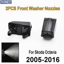Frente Windscreen Windshield Washer Jet Bicos Set Para Skoda Octavia 1Z 5E A5 A7 2005 2006 2007 2008 2009 2010 2011 2012 2013