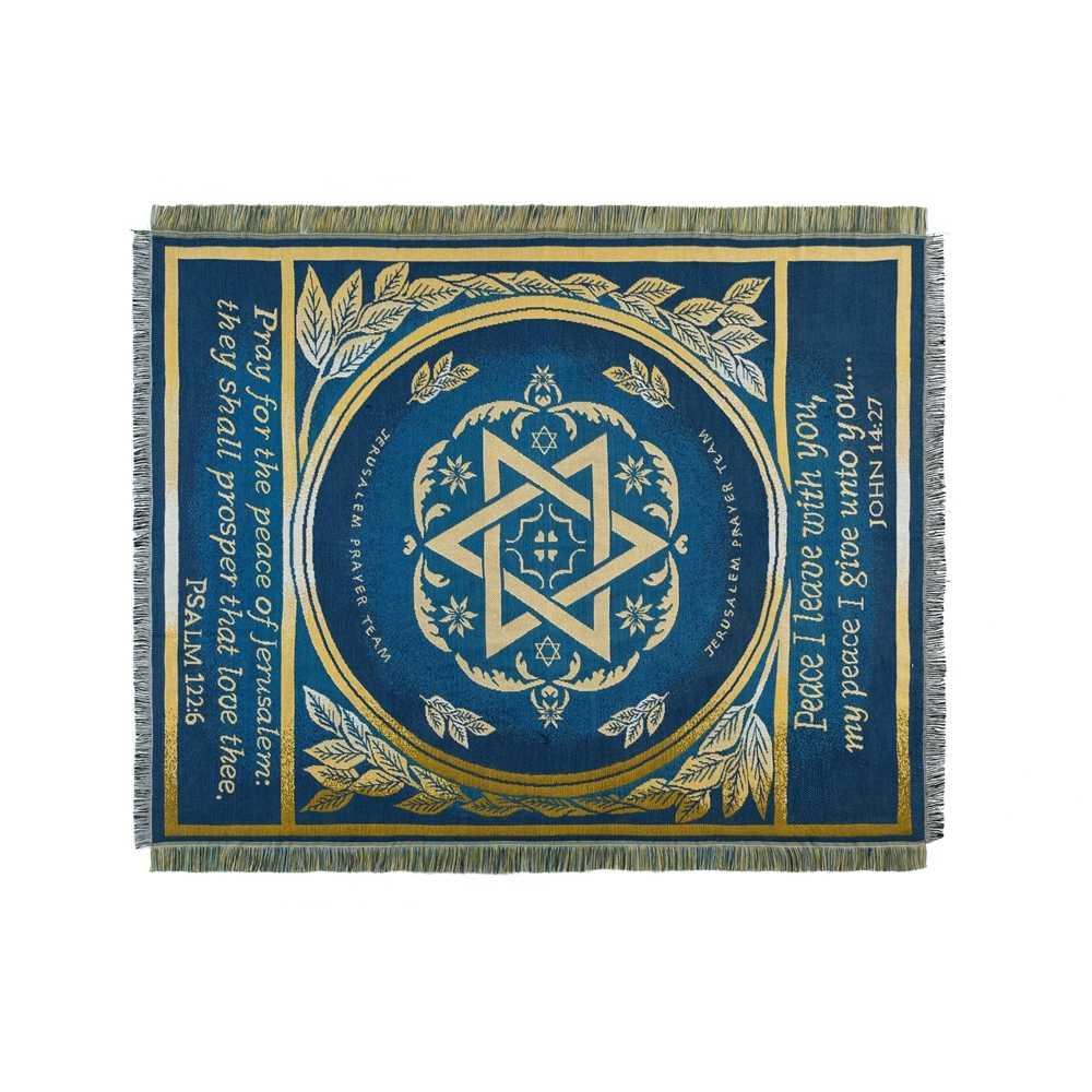 Star of David ผ้าห่มศาสนาอิสราเอลสวดมนต์ผ้าห่มพรมพรมโซฟาถักโยนผ้าห่ม