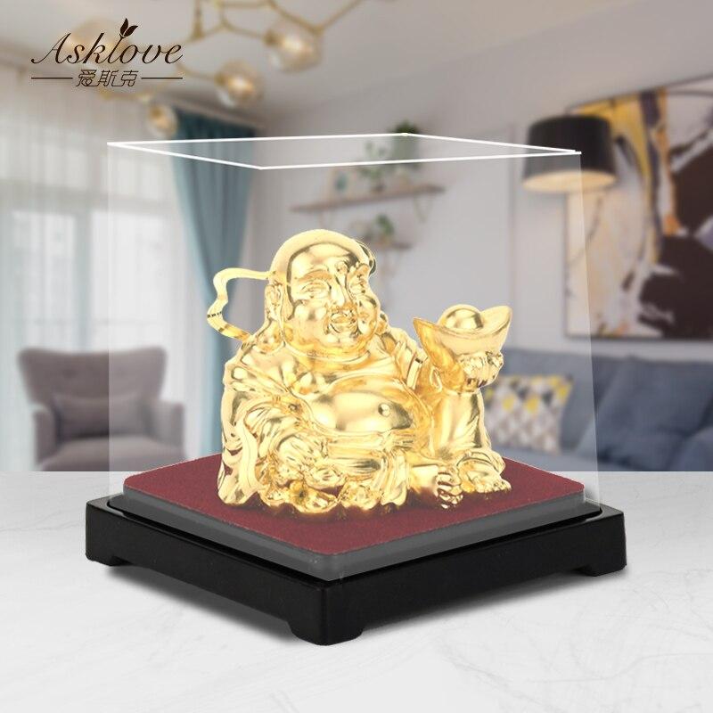 Gold Laughing Buddha Statue Chinese Feng Shui Money Maitreya Buddha Sculpture Figurines 24K Gold Foil Crafts Home Decor Gifts